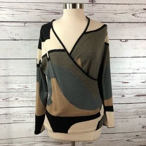 NIC+ZOE v neck wrap color block abstract sweater